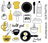 healthy food set. templates...
