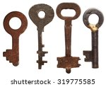 Old Keys Isolated On White...