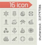 vector saiboat icon set on grey ... | Shutterstock .eps vector #319797086