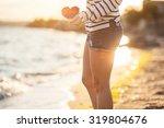 beautiful woman relaxing on the ... | Shutterstock . vector #319804676