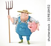 thick old farmer in overalls... | Shutterstock .eps vector #319818452