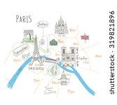 simple cartooned map o paris... | Shutterstock .eps vector #319821896