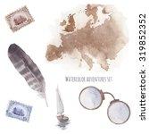 watercolor adventures set. hand ... | Shutterstock . vector #319852352