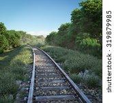 railway track crossing rural... | Shutterstock . vector #319879985