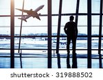 travelers silhouettes at... | Shutterstock . vector #319888502