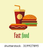 fast food. hot dog  cola  drink ... | Shutterstock .eps vector #319927895