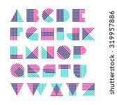 striped alphabet made of... | Shutterstock .eps vector #319957886