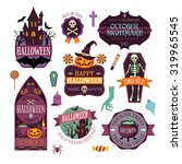 set of vintage happy halloween... | Shutterstock .eps vector #319965545