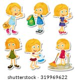 blond girl doing different... | Shutterstock .eps vector #319969622