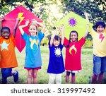 children playing kite happiness ... | Shutterstock . vector #319997492