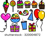 a set of cartoon birthday party ... | Shutterstock . vector #320004872