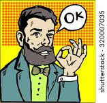 businessman hipster says okay... | Shutterstock .eps vector #320007035