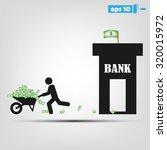 money wheelbarrow man bank | Shutterstock .eps vector #320015972