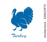 Blue Icon Of Turkey Bird...