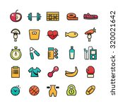 flat icons set of fitness ...