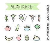 vector linear vegan icon set | Shutterstock .eps vector #320048036