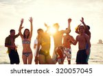 people celebration beach party... | Shutterstock . vector #320057045