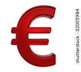 Euro sign from ruby alphabet set, isolated on white. Computer generated 3D photo rendering. - stock photo