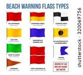 Vector Beach Warning Flags Types