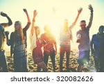 teenagers friends beach party... | Shutterstock . vector #320082626