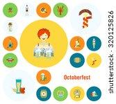 oktoberfest beer festival. flat ... | Shutterstock .eps vector #320125826