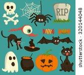 set of vector halloween cartoon ... | Shutterstock .eps vector #320144048