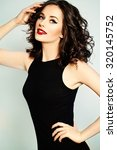 beautiful smiling woman with... | Shutterstock . vector #320145752