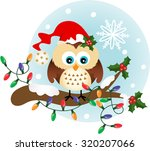 christmas owl on holly branch | Shutterstock .eps vector #320207066