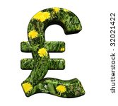 Pound sign from floral alphabet set, isolated on white. Computer generated 3D photo rendering. - stock photo