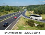 white bus arriving to the... | Shutterstock . vector #320231045