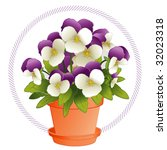 vector - Johnny Jump Ups in a Flowerpot. Colorful purple & white Violas (Pansies) in a clay flowerpot with saucer. EPS8 organized in groups for easy editing.