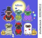 halloween party  cartoon dogs... | Shutterstock .eps vector #320238212