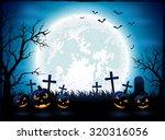 halloween night with blue moon... | Shutterstock . vector #320316056