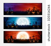 halloween banners with pumpkins ... | Shutterstock . vector #320316266