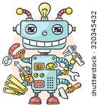 cute cartoon robot with six... | Shutterstock .eps vector #320345432