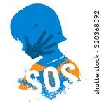 little girl head grunge... | Shutterstock .eps vector #320368592
