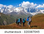 a group of tourists with large... | Shutterstock . vector #320387045