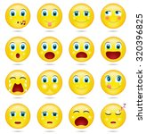 yellow smileys with blue eyes ... | Shutterstock .eps vector #320396825