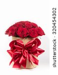 Stock photo gift box with colorful roses on valentine s day holiday 320454302