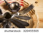 old silverware on the wooden... | Shutterstock . vector #320455505