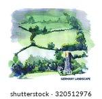 watercolor landscape... | Shutterstock . vector #320512976