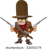 Illustration of cool mean looking cowboy gunman with rifles - stock photo