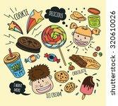 various snack with happy kids... | Shutterstock .eps vector #320610026