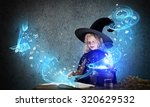 little cute halloween witch... | Shutterstock . vector #320629532