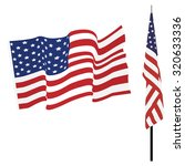 waving american flag and flag... | Shutterstock . vector #320633336