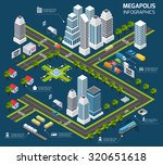 isometric city concept with 3d... | Shutterstock . vector #320651618