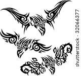 set of tattoos birds of prey...   Shutterstock .eps vector #32066377