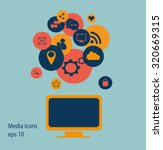 flat screen vector with social...