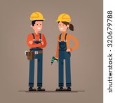 couple of construction workers... | Shutterstock .eps vector #320679788