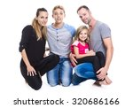 a beautiful family on studio... | Shutterstock . vector #320686166